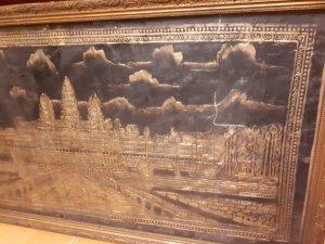 Tranh cổ dát vàng Angcor vatt campuchia