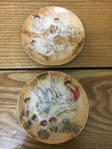 Cặp đĩa sứ Hàn Quốc viền vàng,...