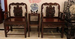 bộ bàn ghế gỗ trắc cũ.JPG