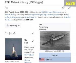 652E-chữ xéo 1965 Tàu ngầm USS PATRICK HẺNY SSBN -599