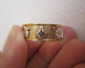 Nhẫn mỹ Masonic vàng 10k vòng...