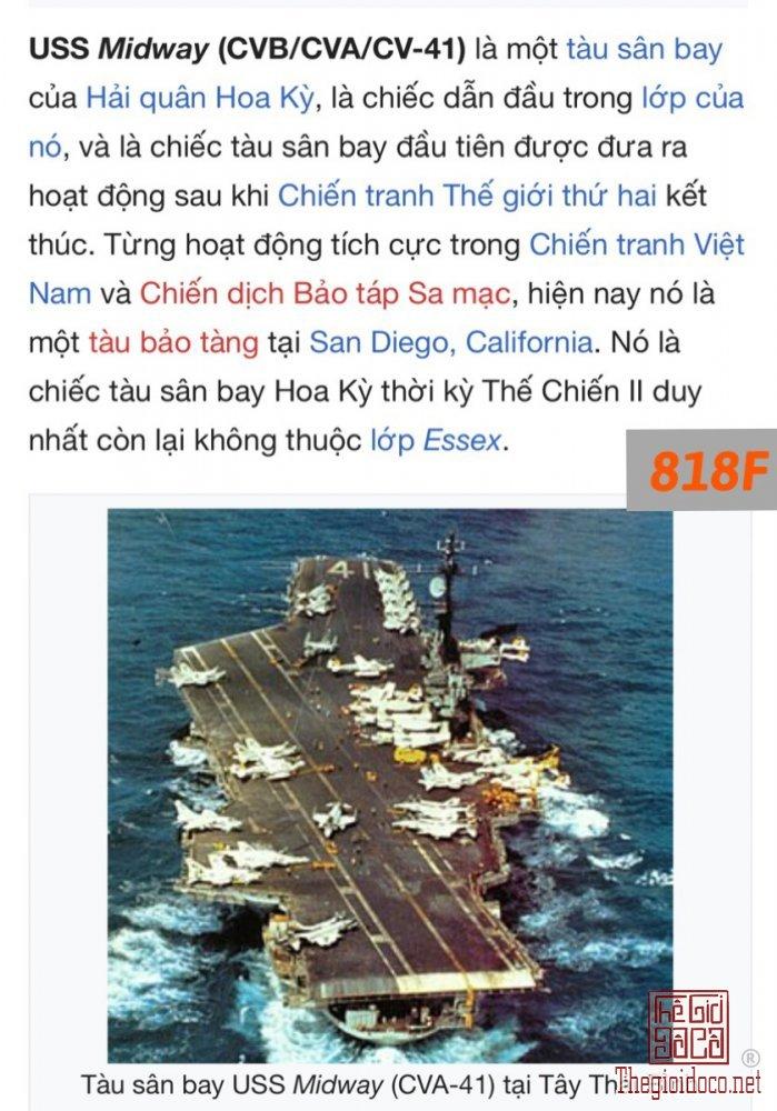 88F-chữ xéo 1981 USS MIDWAY CV-41 ( tàu sân bay ,từ từng tham chiến tại VN) -