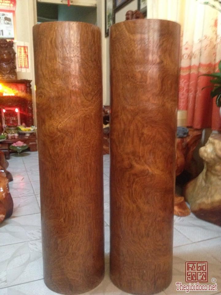 ( MS DG 161)  Cặp Đôn phong thủy gỗ gõ Gia Lai vân sụn xoáy cực đẹp