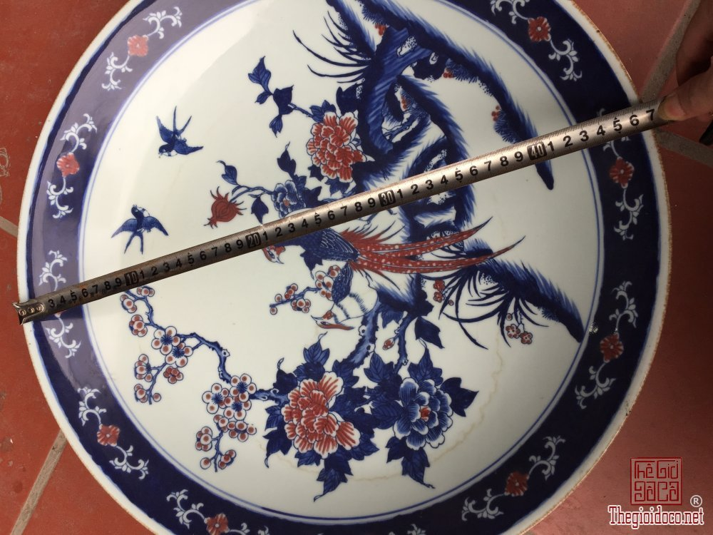 Bán chiếc đĩa vẽ chim hoa rất đẹp đồ siêu tầm cũ kt miệng 47cm rất đẹp