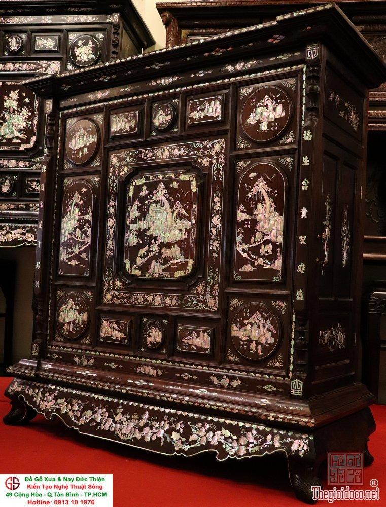 Tủ thờ gỗ cẩm lai khảm ốc đỏ lửa vàng chanh _ Cực Hiếm