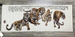 Tranh thêu ngũ hổ lớn đẹp