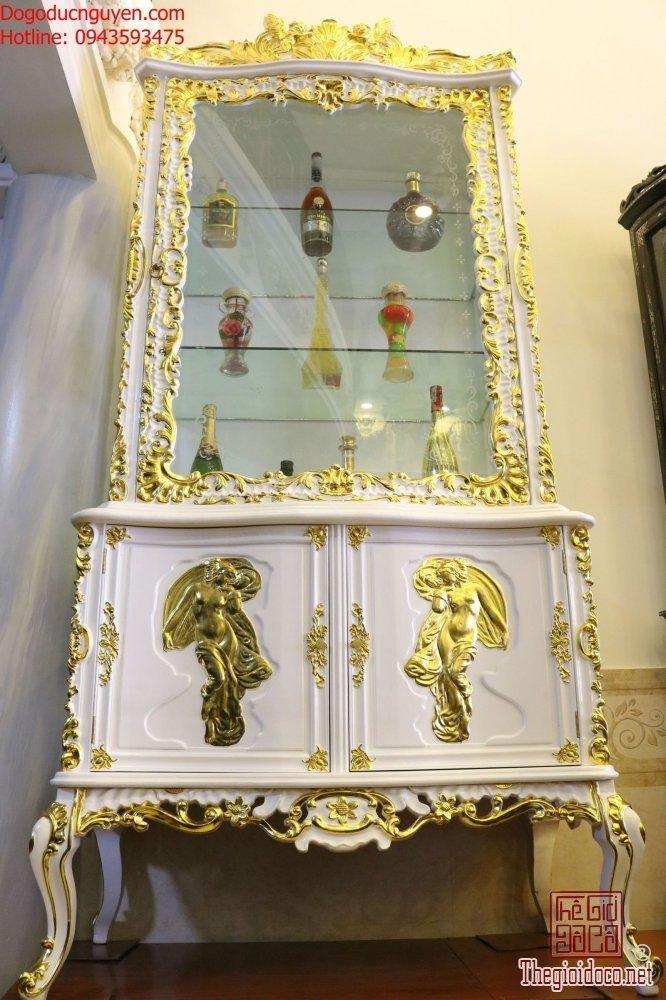 Tủ Rượu Louis Thiếp Vàng
