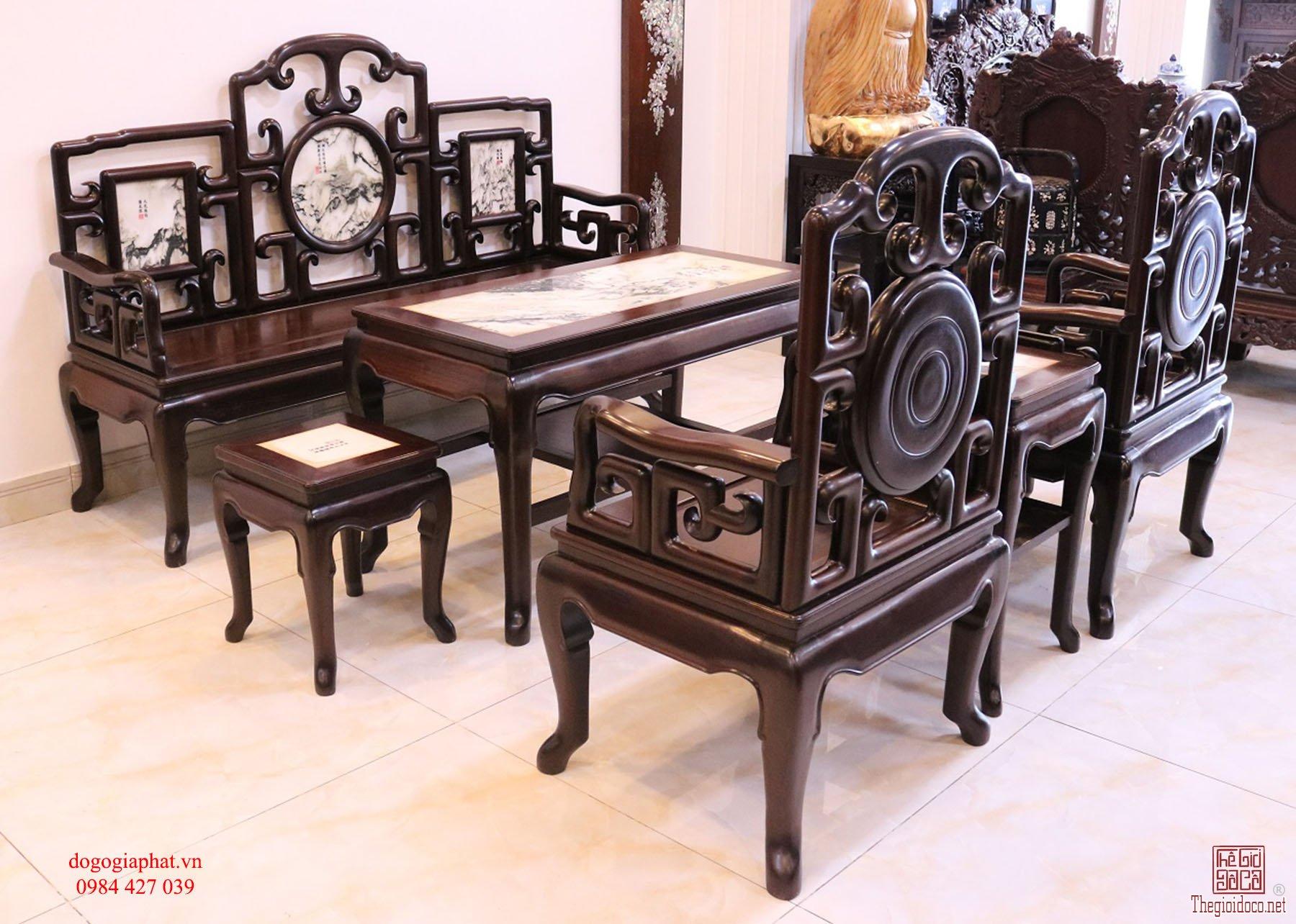 Bộ ghế móc gỗ gụ ta quảng bình - hàng tái già
