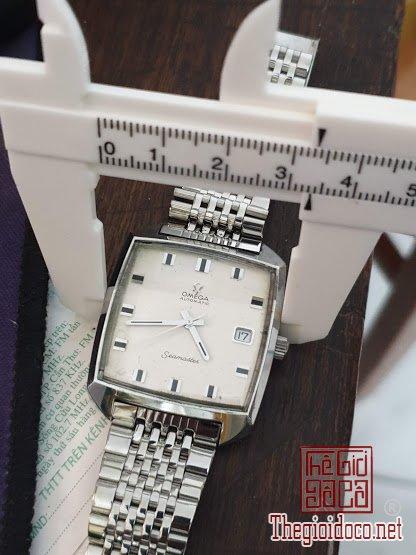 Omega Seamaster tự động call 565 lịch giật, 3 kim 1 lịch cọc số vuông cài đá đen