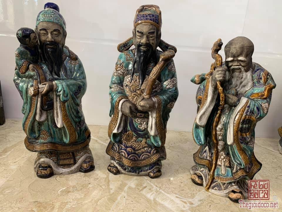 TAM ĐA Phước Lộc Thọ khắc hoạ tiết cao 55cm gốm Biên Hoà có mộc lò zalo: 0776218163