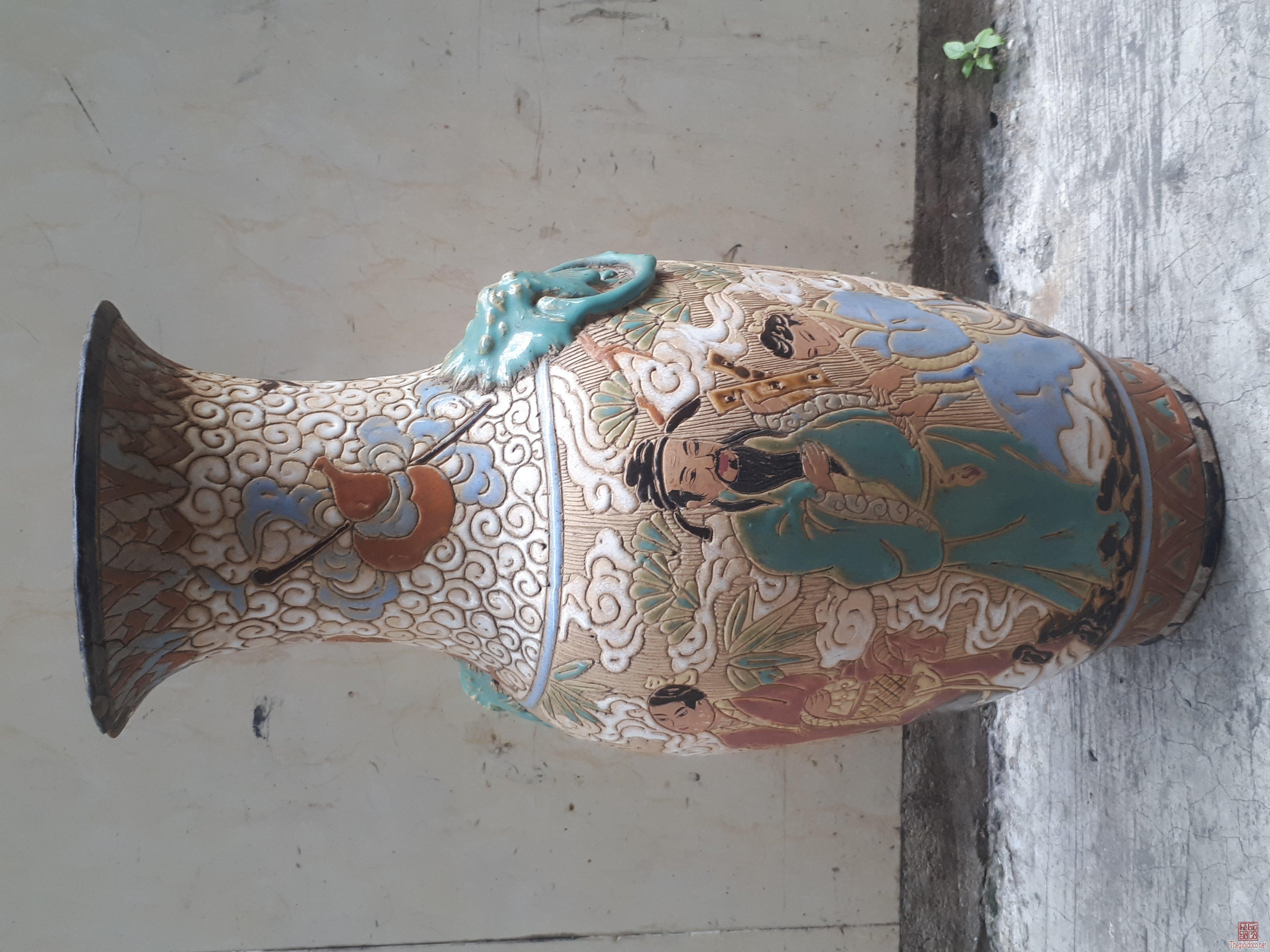 bình bát tiên gốm Biên Hòa cai 43cm