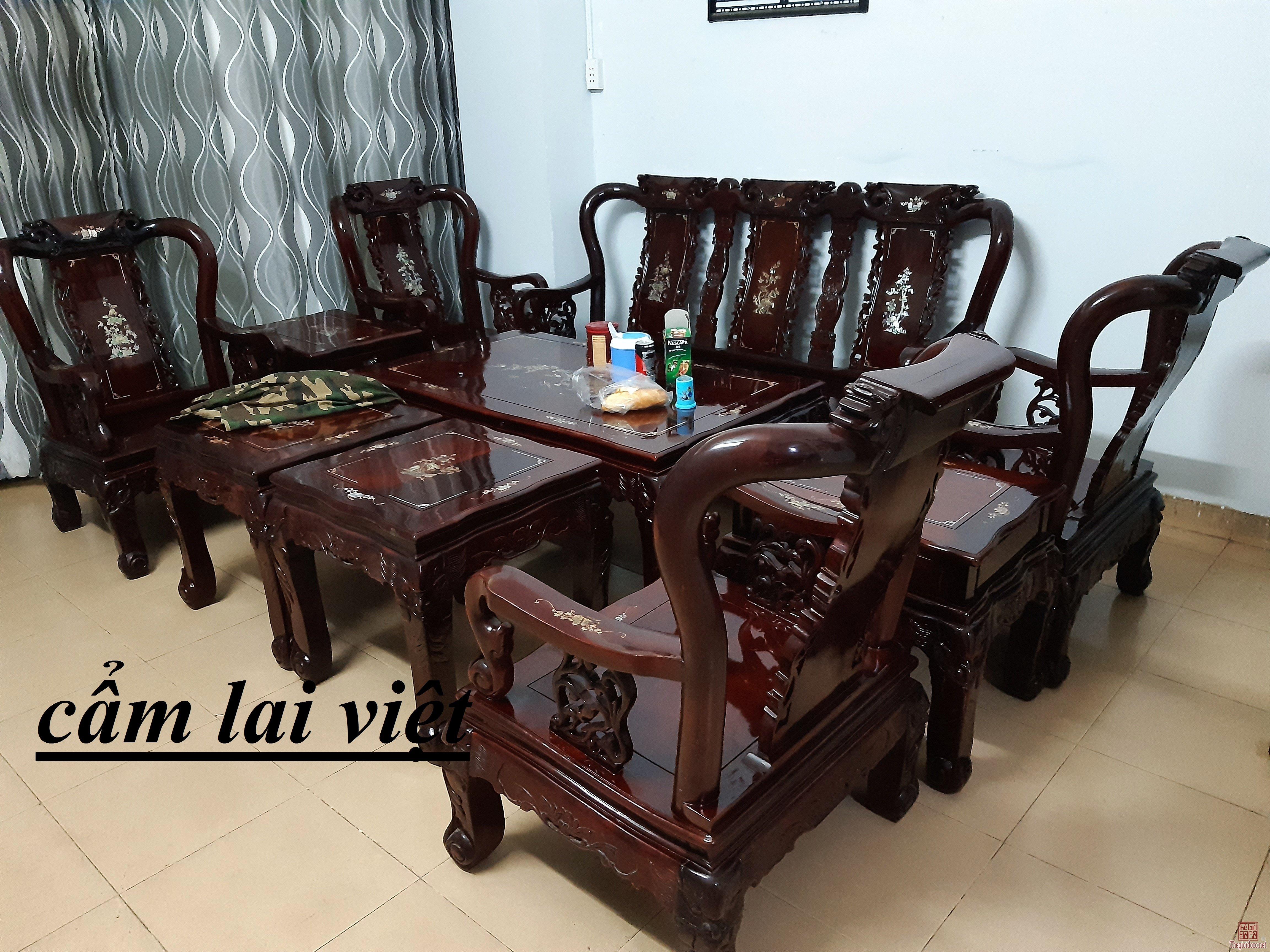 Bộ salon gỗ lâu năm cẩm lai 10 món