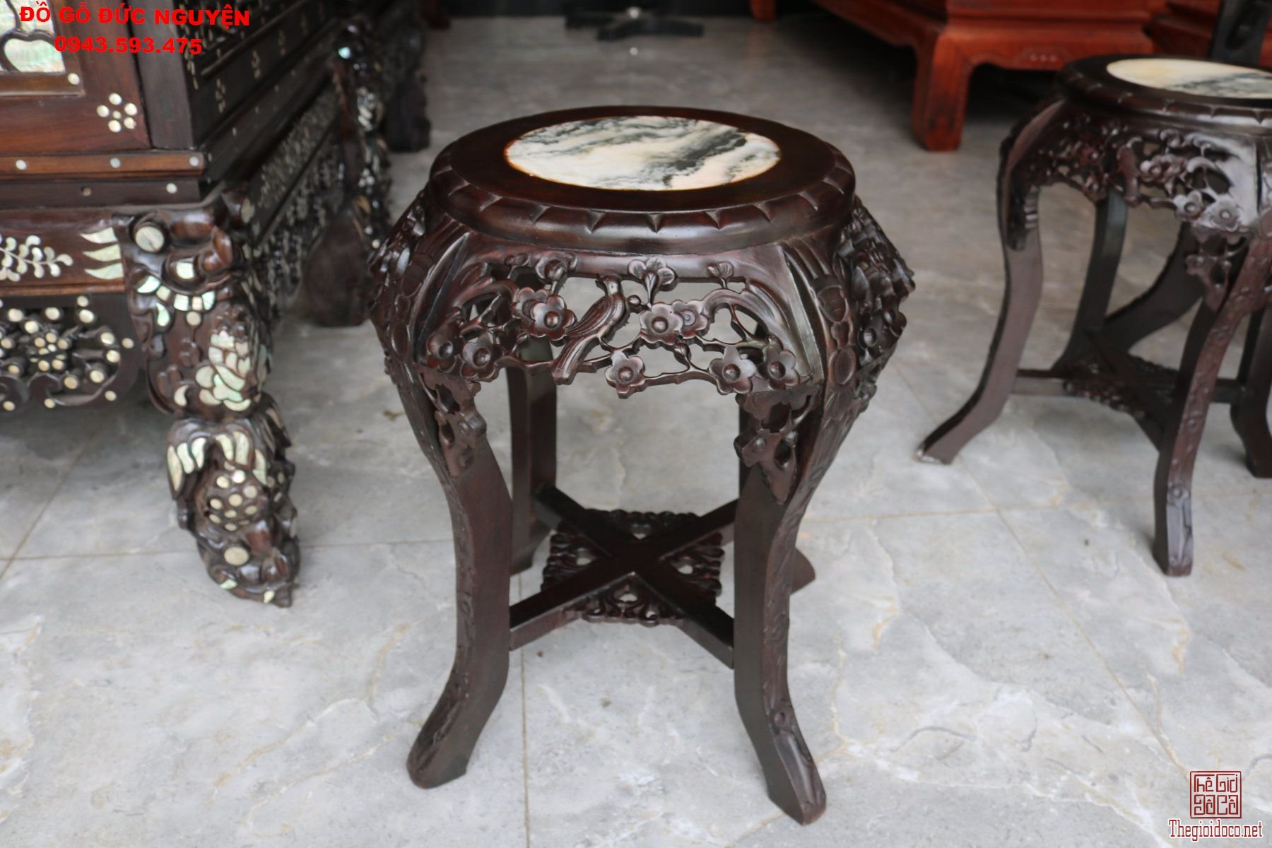 Bàn ăn gỗ gụ - bộ bàn ghế đôn tròn mai điểu 7 món