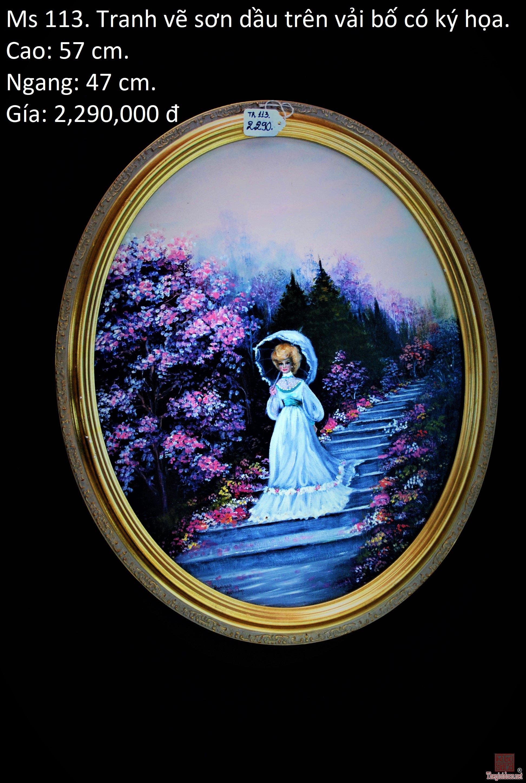 Tranh vẽ sơn dầu trên vải bố có ký họa. 57x 47 cm