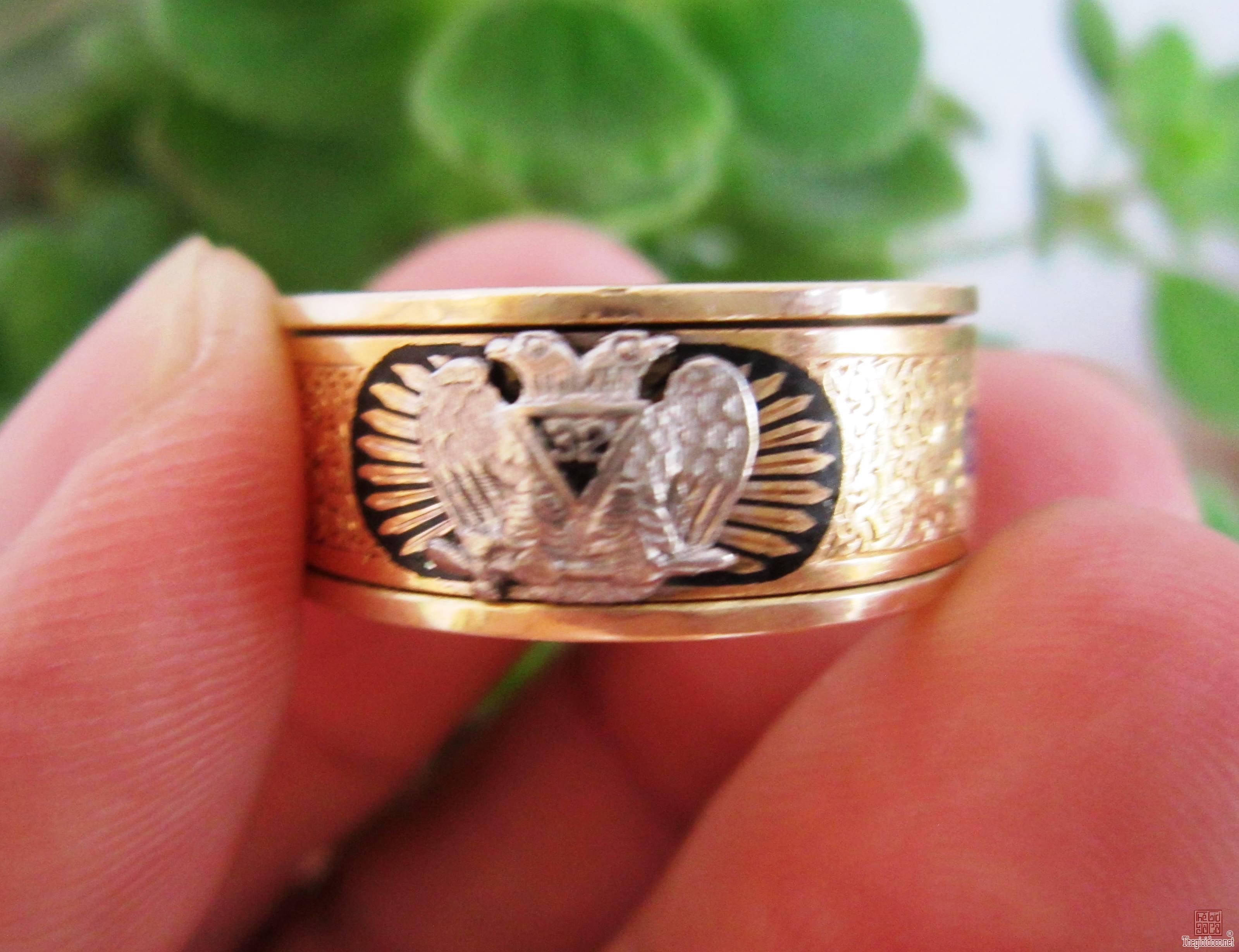 Nhẫn mỹ 14K Masonic vòng tròn, vàng 02 màu (vàng trắng và vàng vàng)