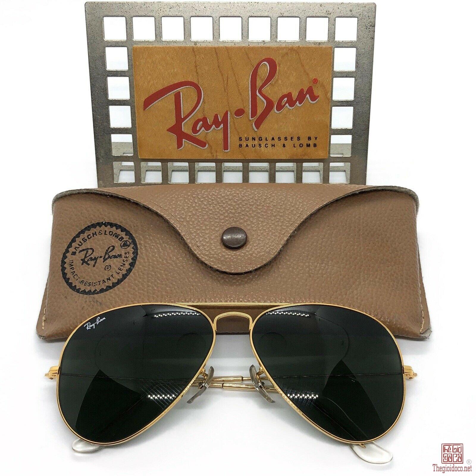 Kính Rayban Aviator B&L. USA mạ vàng.