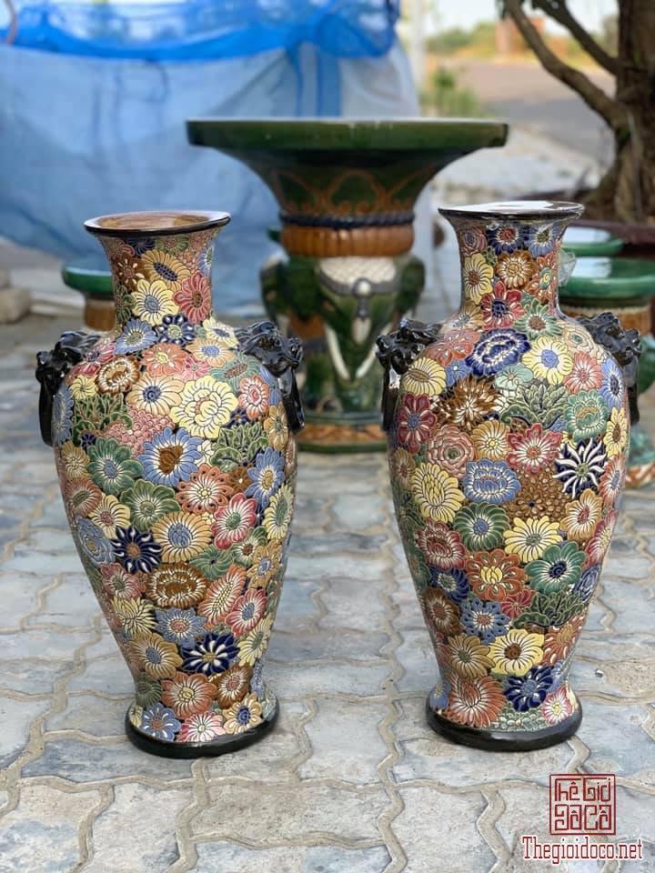 Cặp Lộc Bình Bách Hoa Ngũ Sắc cao 65cm dáng Bá Huệ Tôn thập niên 80-90 zalo: 0776218163.