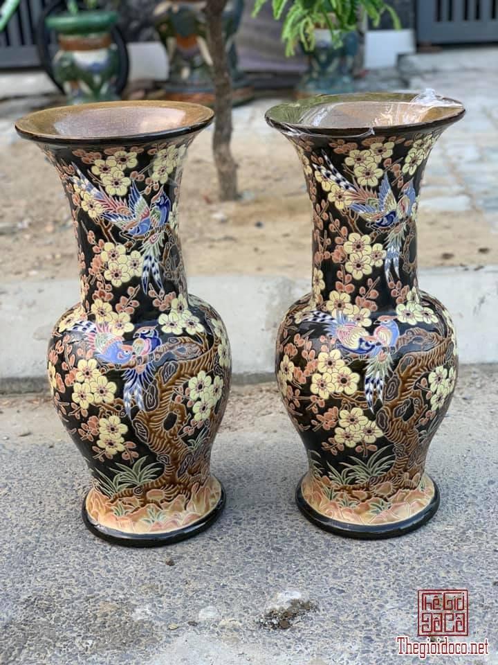 1 Cặp Lộc Bình Mai Điểu Ngũ Sắc cao 60cm dáng Bá Huệ Tôn thập niên 80-90 zalo: 0776218163.