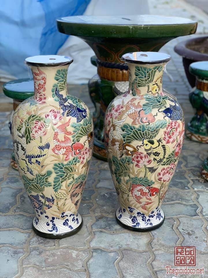 1 Cặp Lộc Bình Sen Cá Ngũ Sắc cao 65cm dáng Bá Huệ Tôn thập niên 80-90 zalo: 0776218163.