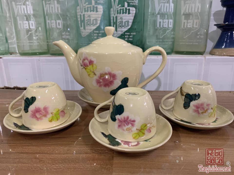 Bộ ấm tách trà bông đào mộc sông bé: 1 ấm, 3 tách, 4 dĩa gốm Nam Bộ TN 80, zalo: 0776218163