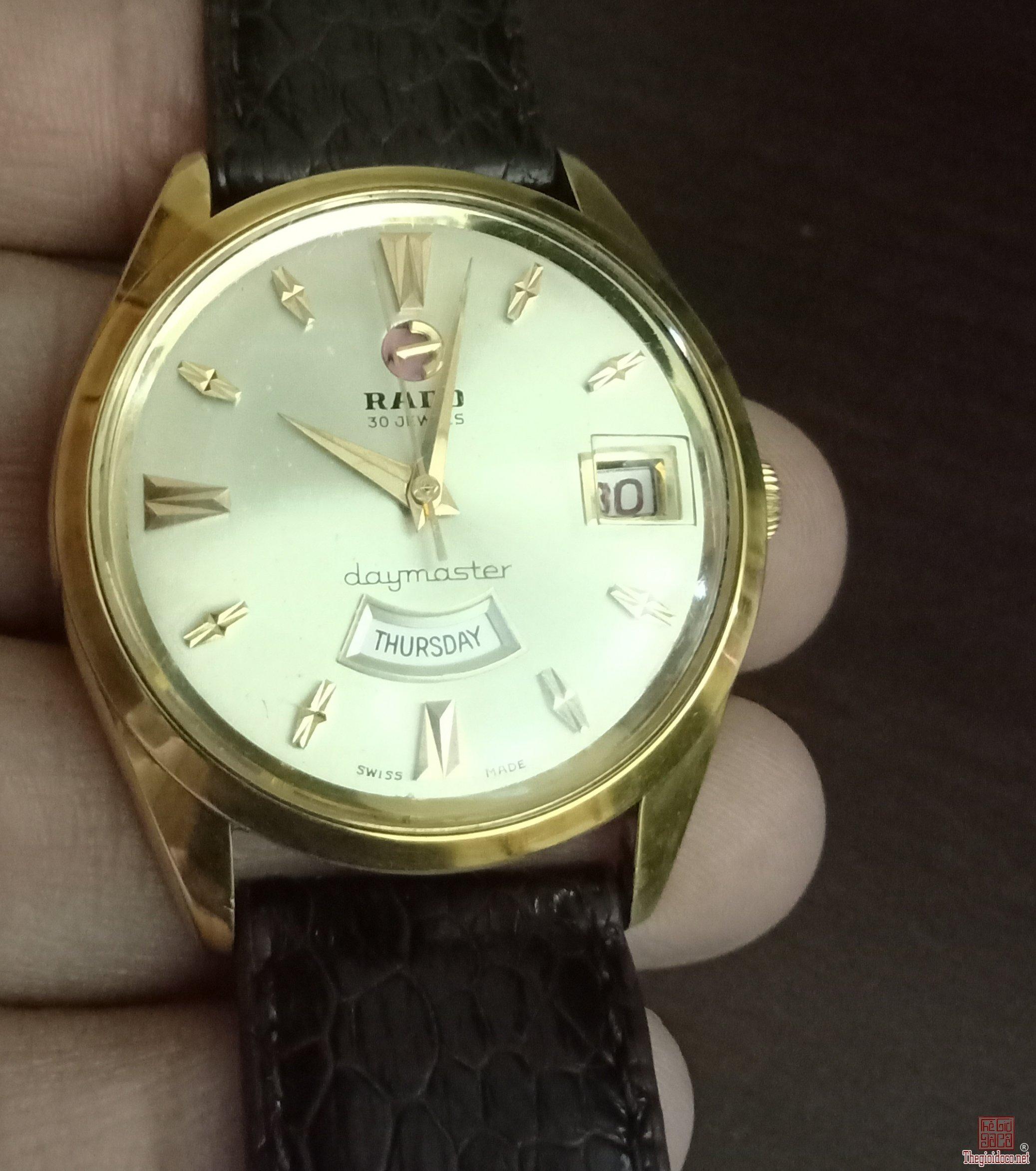 Đồng hồ xưa RADO lịch cười bọc vàng 20 micron
