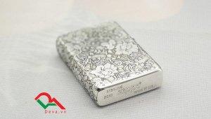 Zippo bạc khối khắc hoa 5 mặt Z269