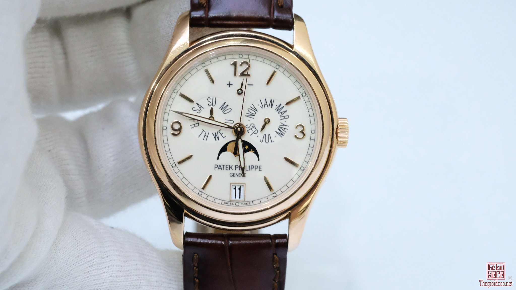Đồng hồ Patek Philippe 5146R mặt trắng vàng hồng 18k size 39mm
