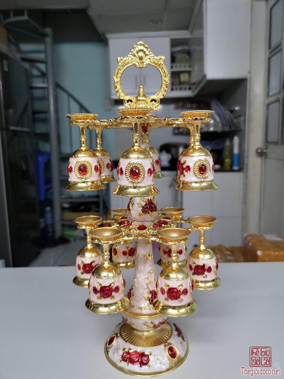 Bộ ly treo mạ vàng độc lạ quý hiếm hoa văn tuyệt đẹp bán sỉ và lẻ