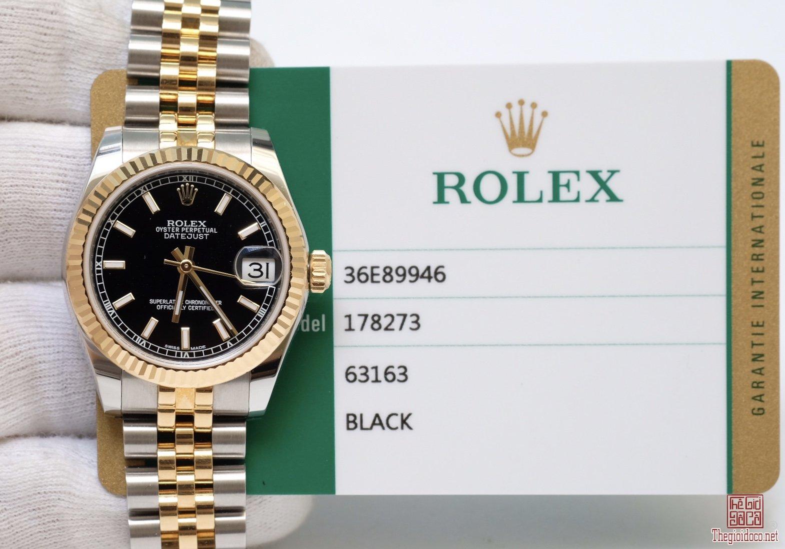 Đồng hồ nữ Rolex DateJust 178273 Demi vàng 18k, mặt đen size 31mm