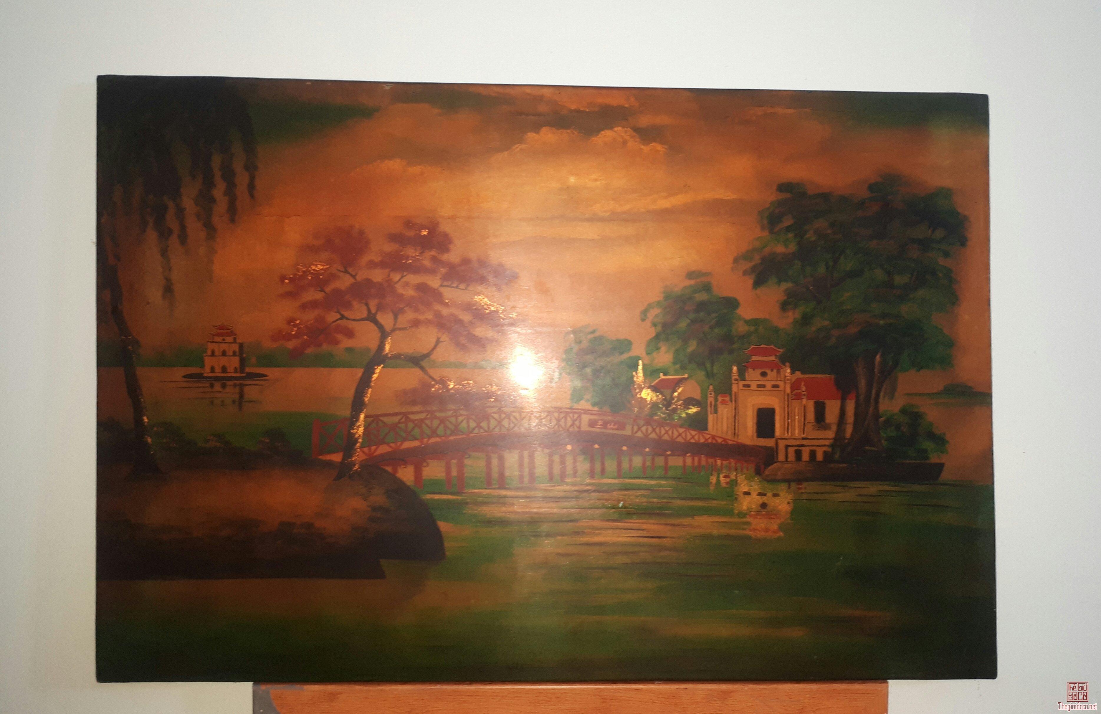 tranh sơn mài xưa thập niên 80s tình trạng mặt tranh lành đẹp 95% KT 40x60cm