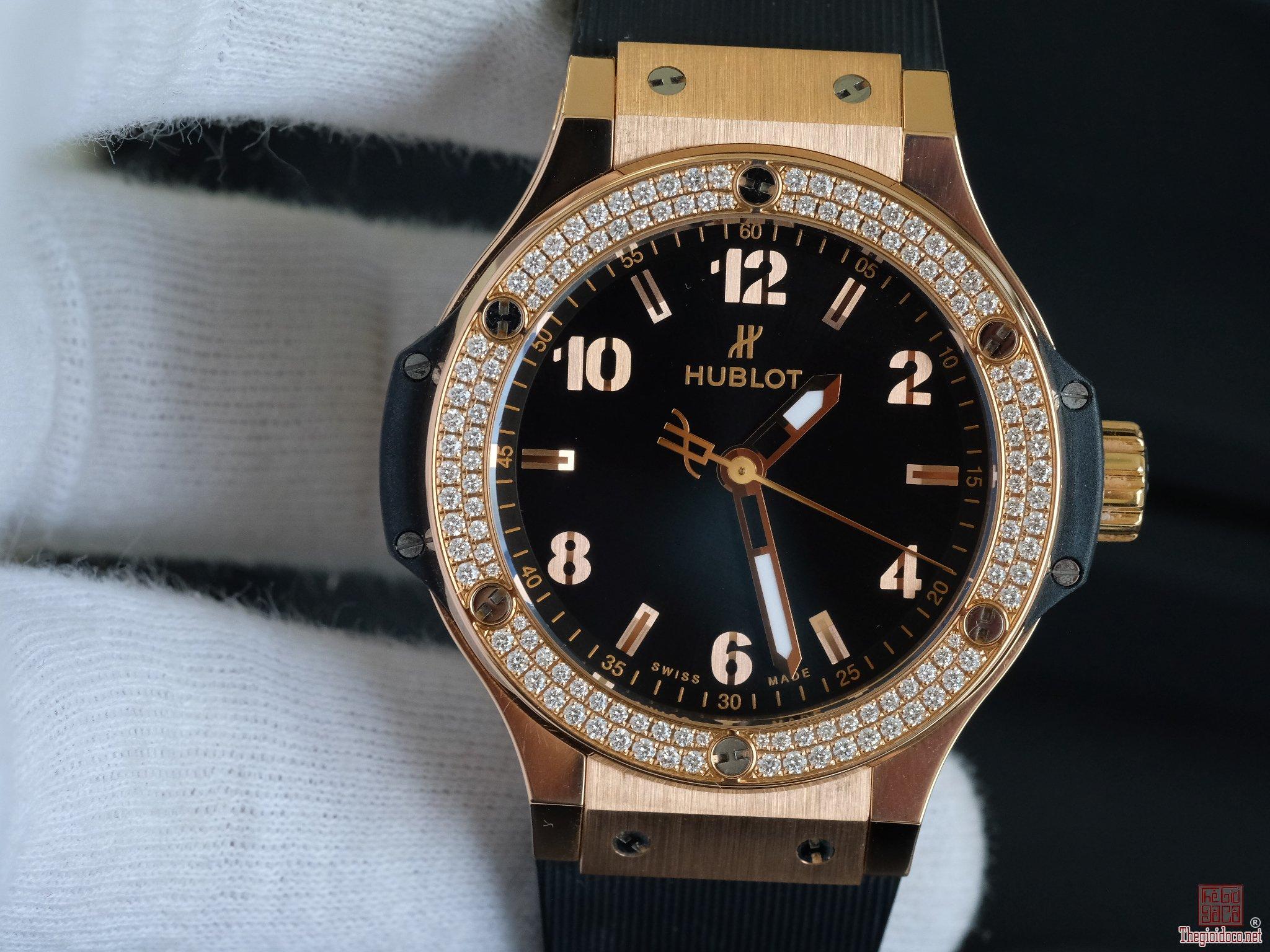 Đồng hồ nữ Hublot Big bang mặt đen vàng hồng 18k vành kim zin size 38mm
