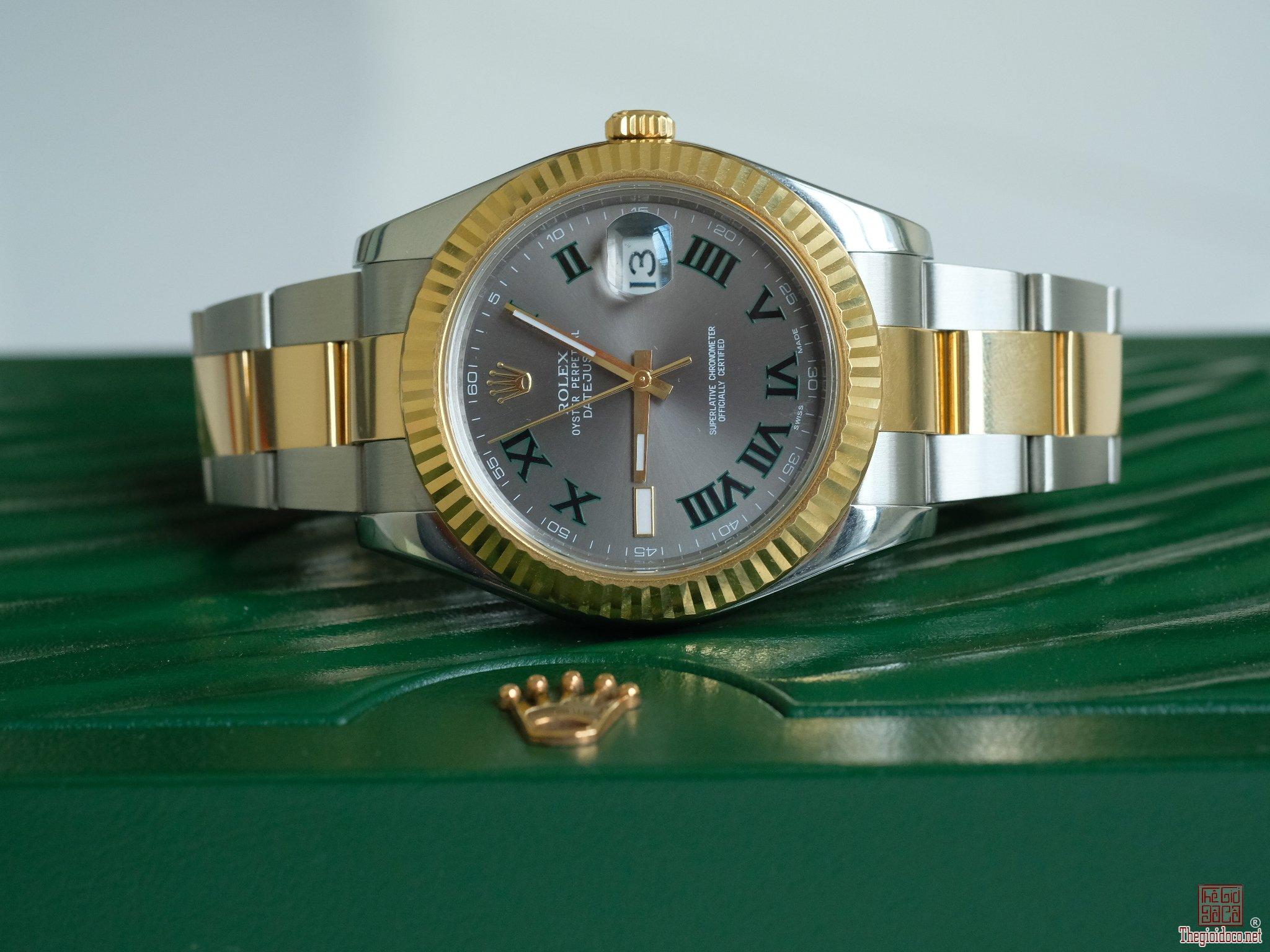 Đồng hồ Rolex Date just 116333 Demi vàng 18k Mặt số Wimbledon size 41