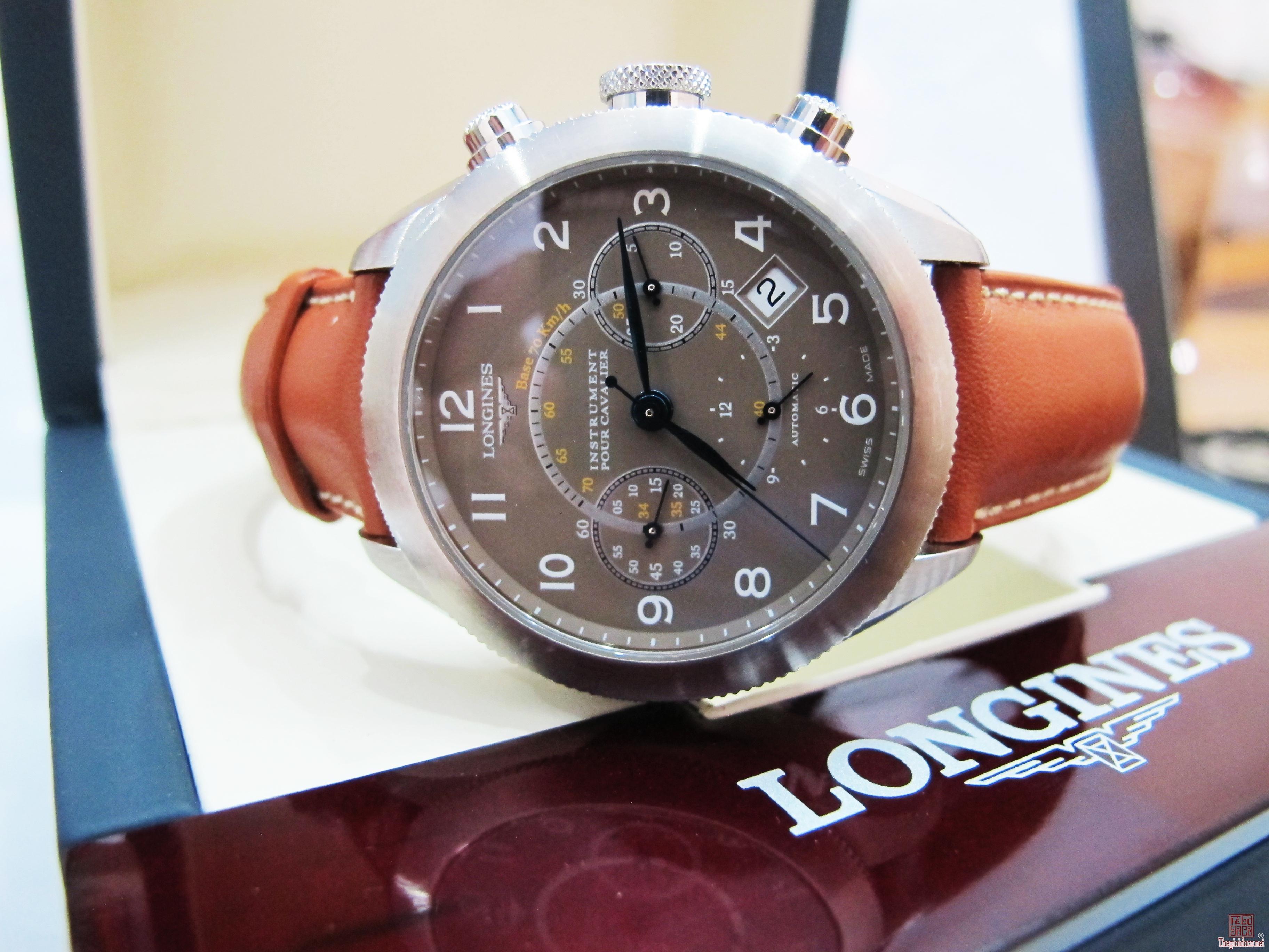 Longines Chronograph Nam automatic Dây da 6 kim ( Số học trò ) Fullbox giá rẻ