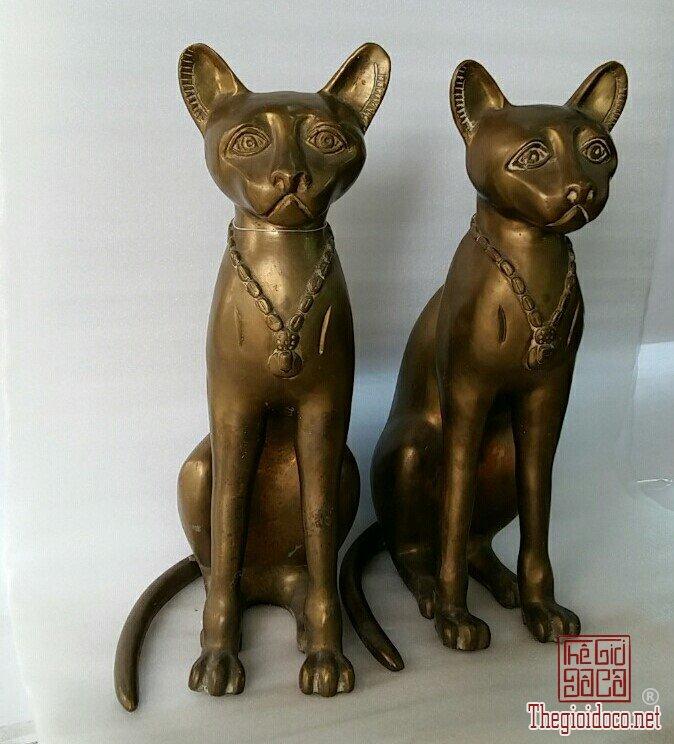 Cặp mèo lớn bằng đồng nguyên , hand made in thailan , mang về từ MỸ.
