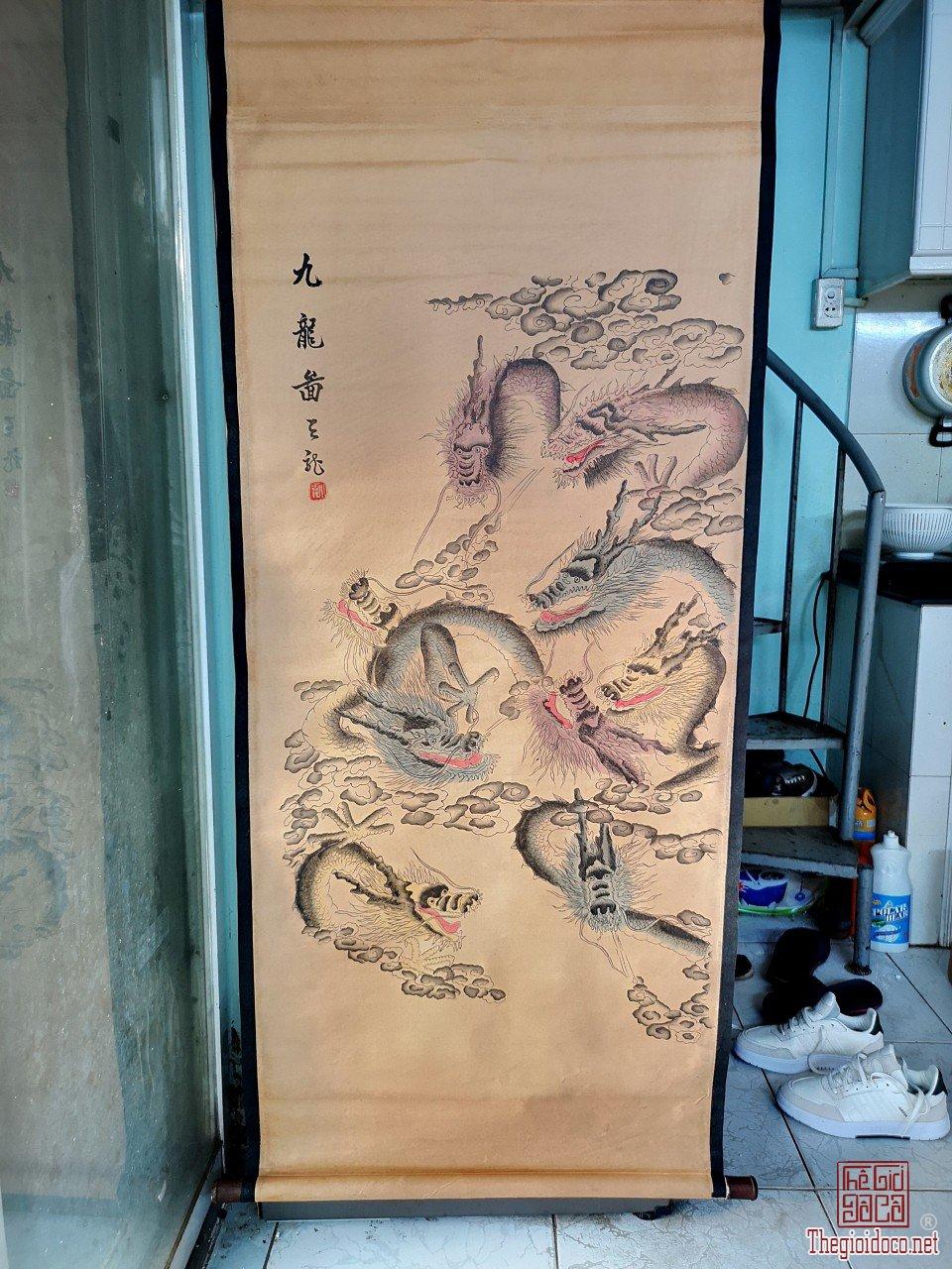 Tranh cửu long 9 rồng độc lạ quý hiếm hoa văn tuyệt đẹp hàng hiếm giá mềm
