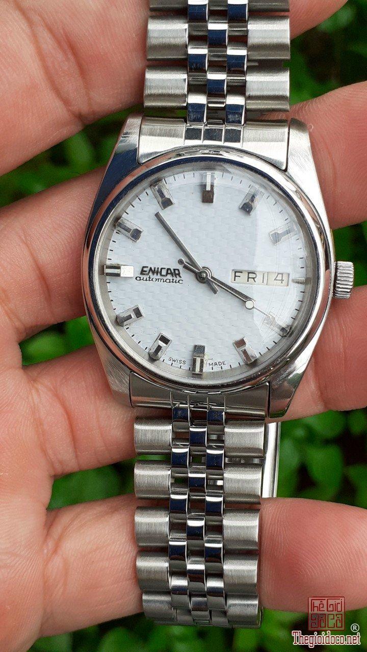 Đồng hồ xưa Enicar tự động vỏ thép zin trọn bộ