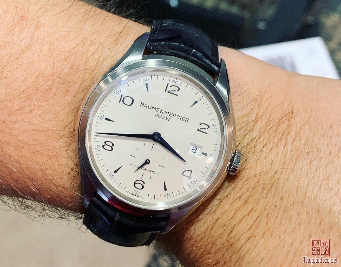 Đồng Hồ Nam BAUME & MERCIER Automatic mặt trắng kim nung xanh Siêu Đẹp Size 41mm