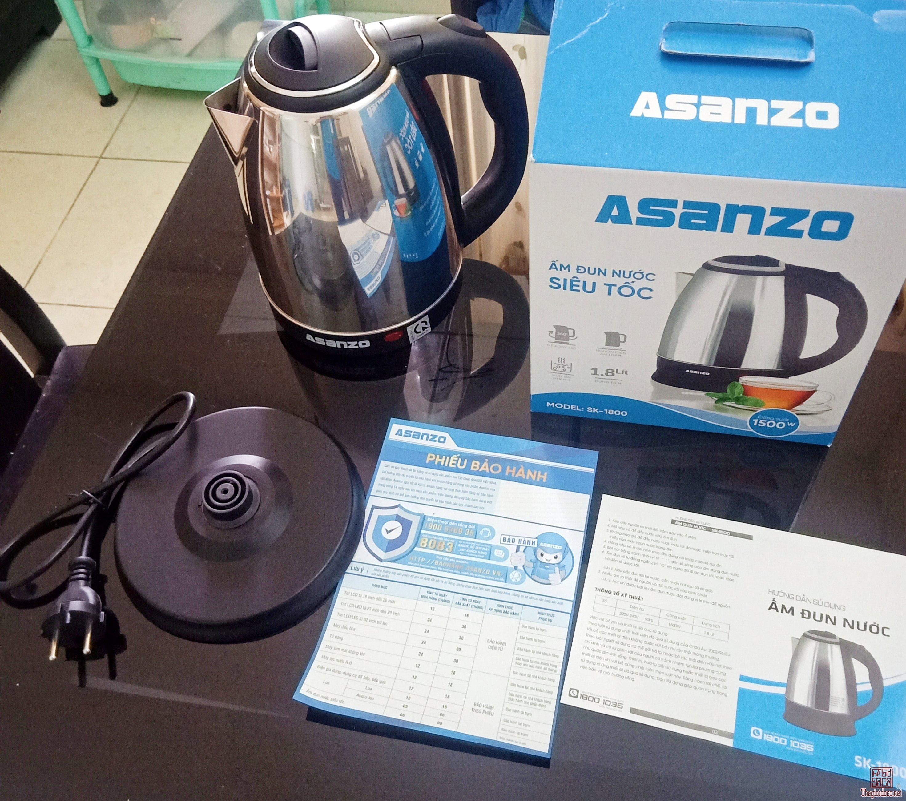 Ấm đun nước ASANZO SK-1800 dung tích 1,8 lít
