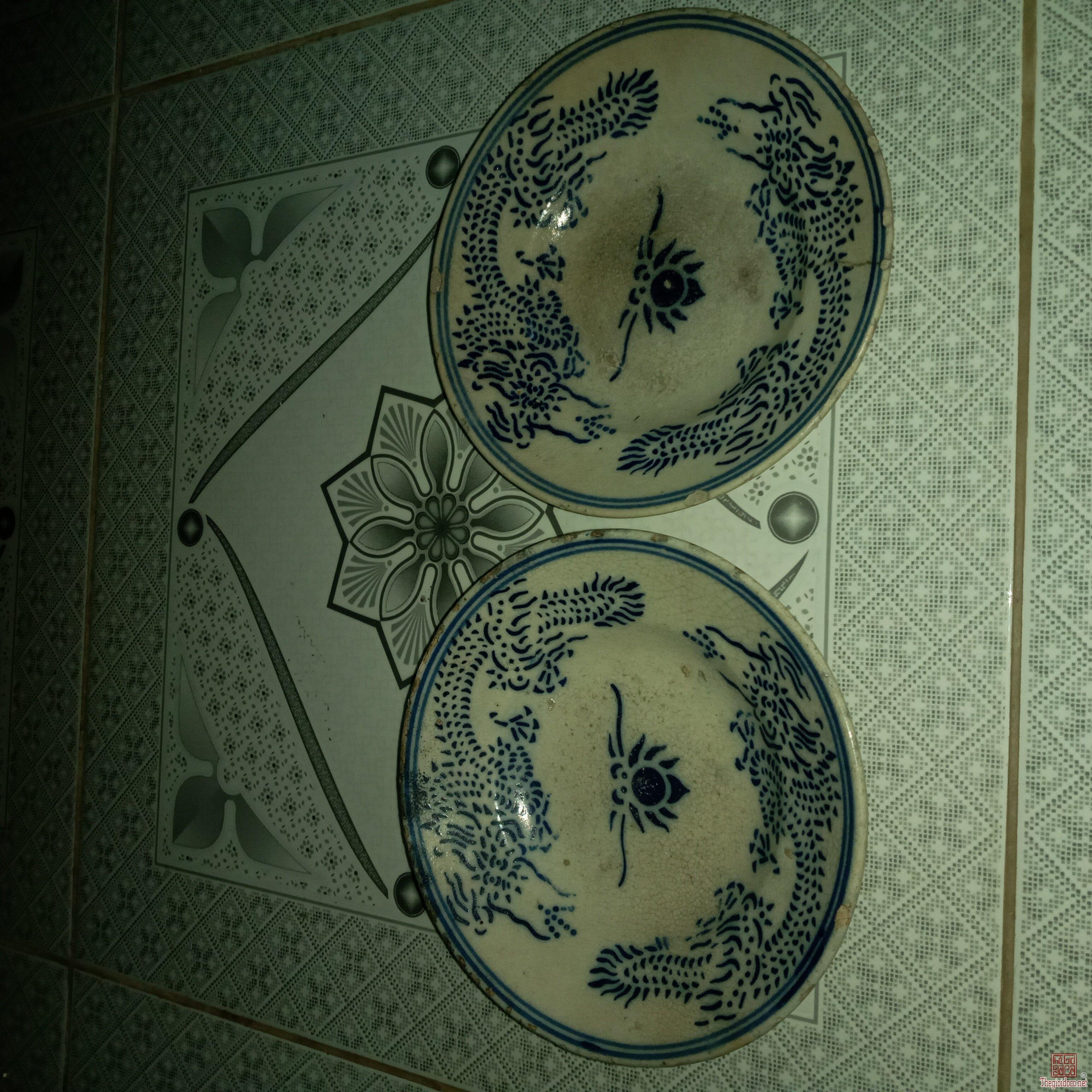 Giao lưu:2 Dĩa Rồng Chuẩn Xưa Song Long Chầu Nguyệt,15,5cm