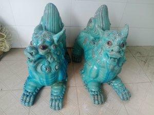 Cặp Lân xanh ngọc gốm Nam Bộ...