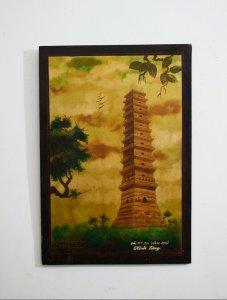 tranh sơn mài hình ảnh tháp...