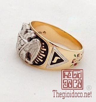 Nhẫn Masonic vàng xưa 2 tone