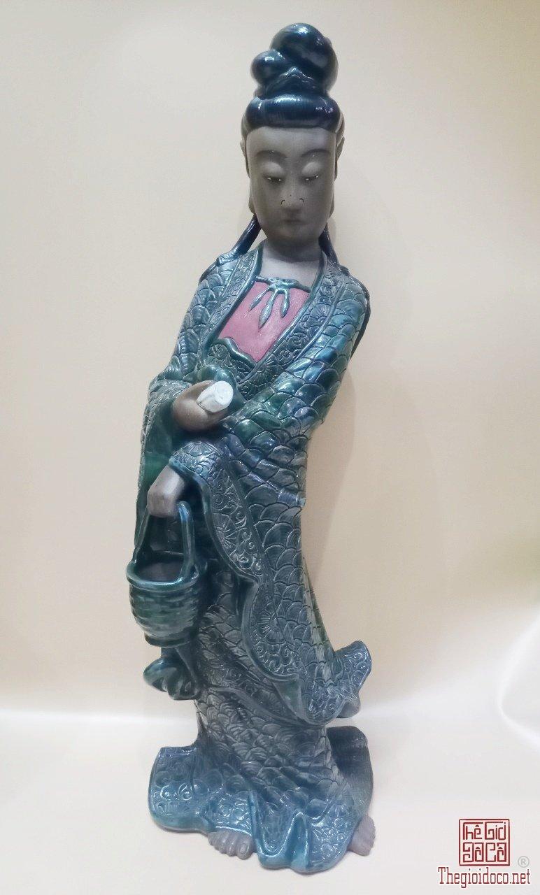 Tôn tượng Quan Âm Đề Lam gốm Biên Hòa.Cao 84cm.  Giá thỉnh 7,6 triệu