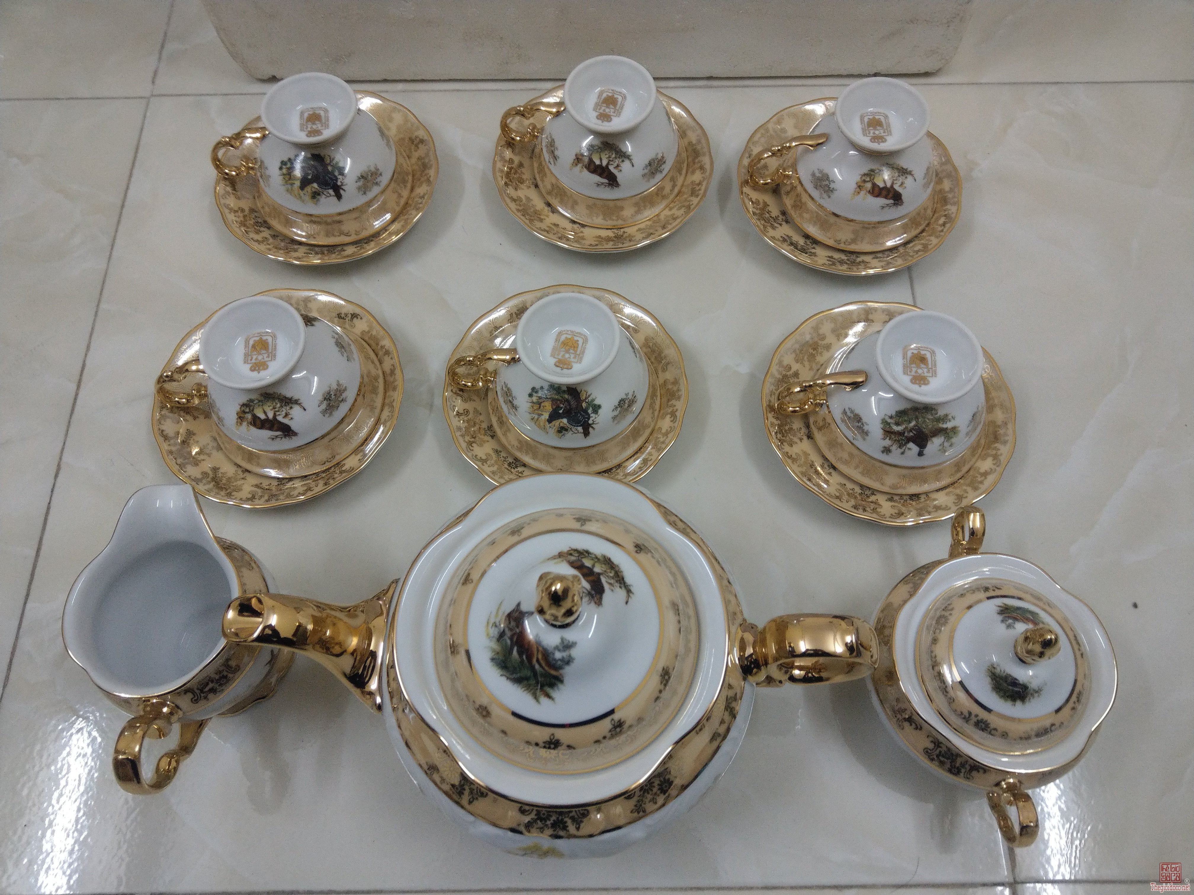 Bộ ấm trà mạ vàng 12k Cộng Hòa Séc.